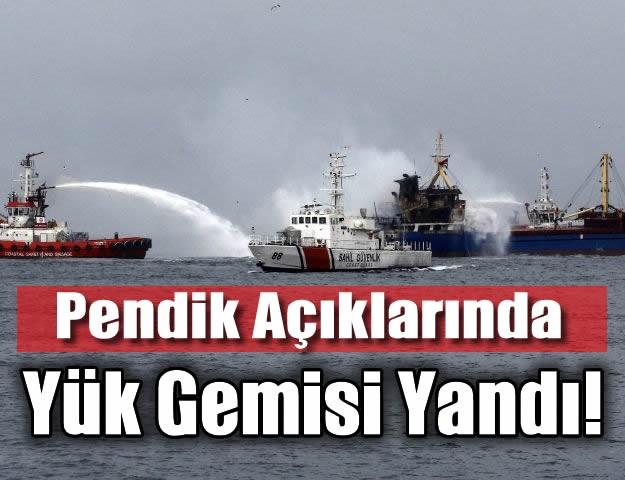 İstanbul'da Pendik Açıklarında Yük Gemisi Yandı