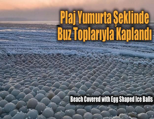 Plaj Yumurta Şeklinde Buz Toplarıyla Kaplandı