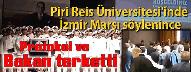 İzmir marşı okununca Bakan terketti